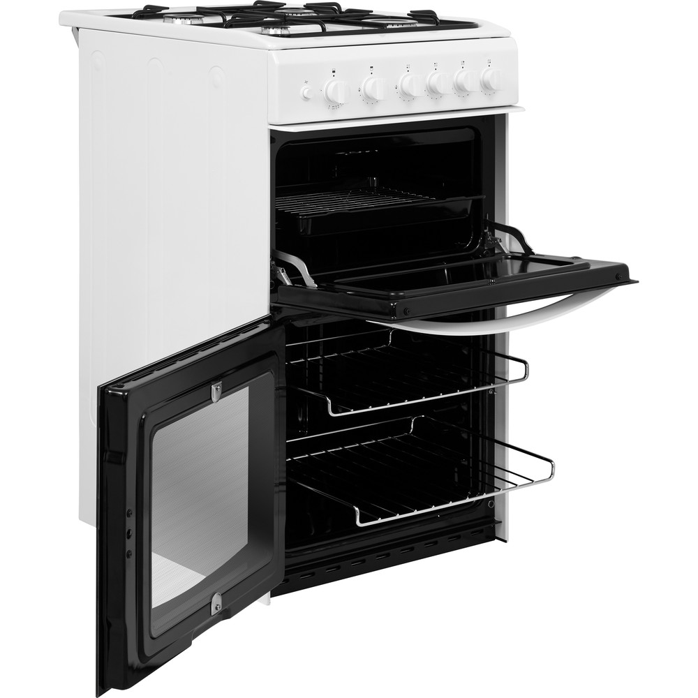 Indesit Double Cooker ID5G00KMW/UK White A+ Enamelled Sheetmetal Perspective open
