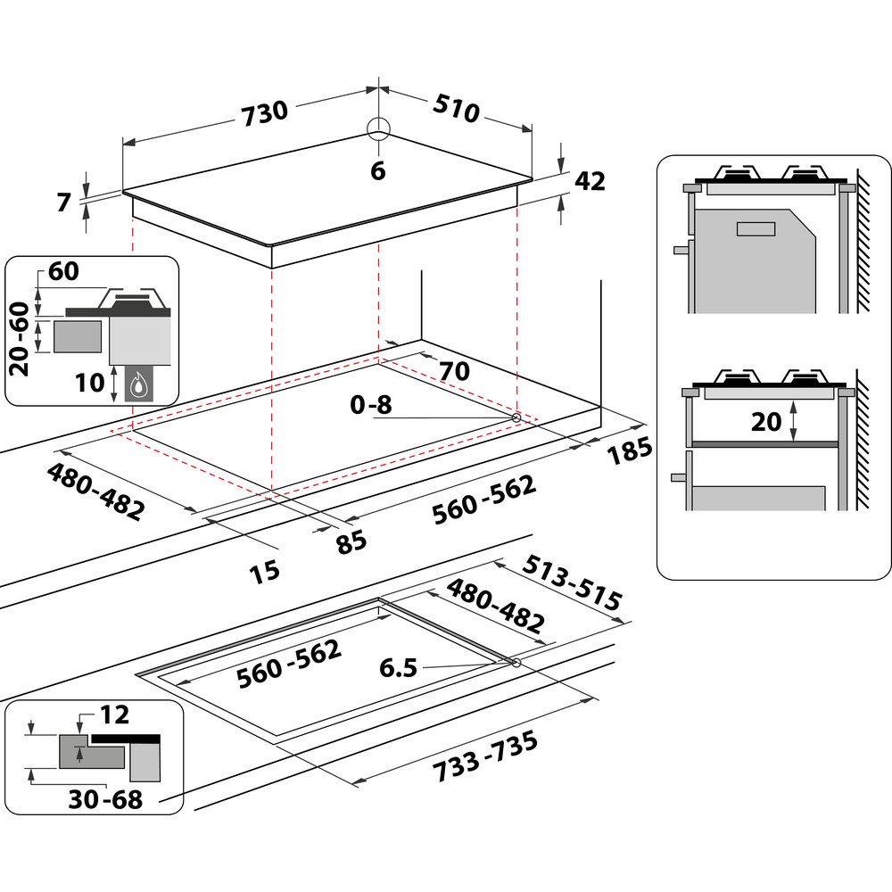 Indesit Piano cottura ING 72T/BK Nero GAS Technical drawing