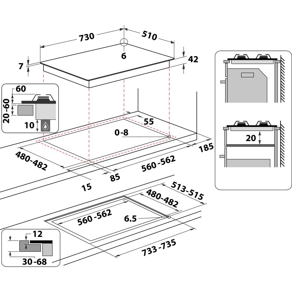 Indesit HOB ING 72T/BK Black GAS Technical drawing