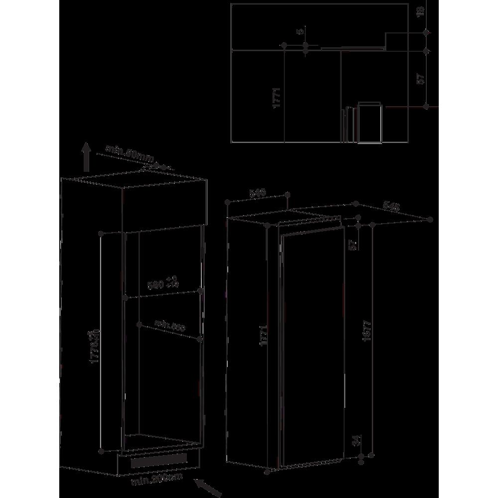 Indesit Réfrigérateur Encastrable ZSIN 1801 AA Blanc Technical drawing