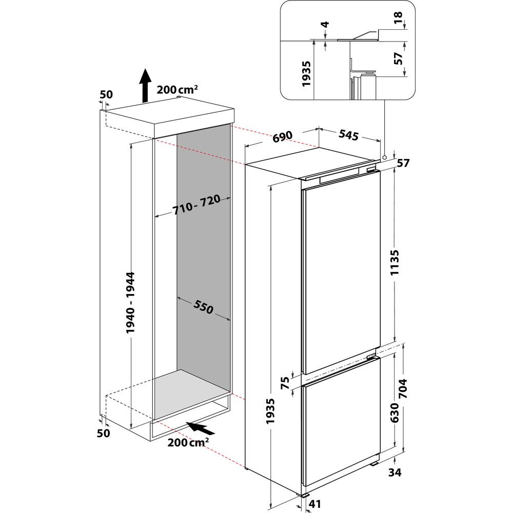 Indesit Combinazione Frigorifero/Congelatore Da incasso IND 401 Bianco 2 porte Technical drawing