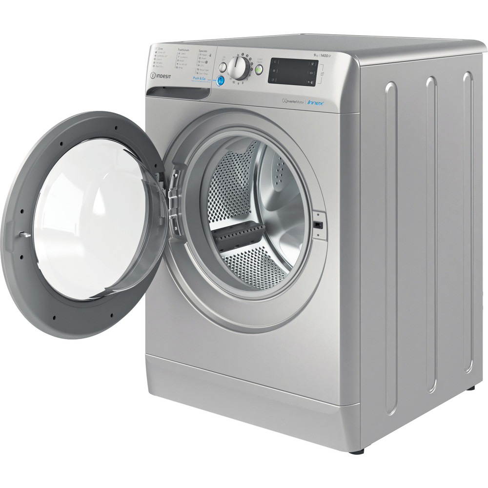 Indesit Washing machine Free-standing BWE 91483X S UK N Silver Front loader D Perspective open