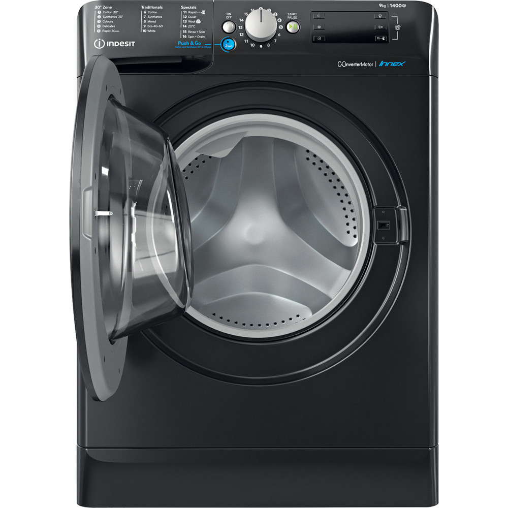 Indesit Washing machine Free-standing BWE 91483X K UK N Black Front loader D Frontal open