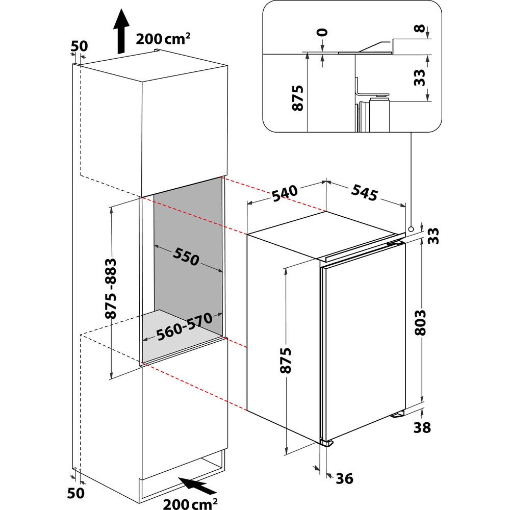 Indesit Réfrigérateur Encastrable INS 921 1N Non disponible Technical drawing
