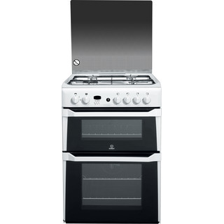Indesit Double Cooker ID60G2(W) White A+ Enamelled Sheetmetal Frontal