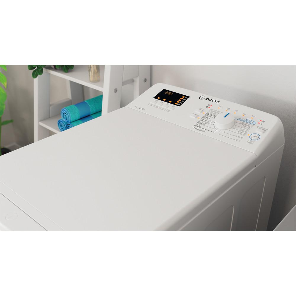Indesit Lave-linge Pose-libre BTW S72200 BX/N Blanc Par le dessus E Lifestyle perspective