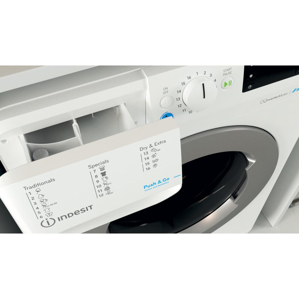 Indesit Veļas mazgājamā mašīna-žāvētājs Brīvi stāvošs BDE 861483X WS EU N Balts Priekšējās ielādes Drawer