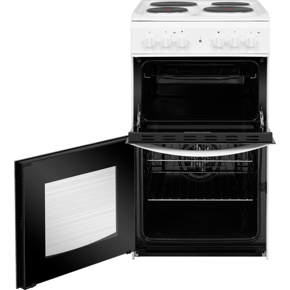 Indesit Double Cooker ID5E92KMW/UK White A Enamelled Sheetmetal Frontal open