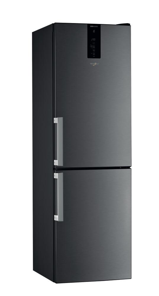 Whirlpool Combiné réfrigérateur congélateur Pose-libre W9 831D KS H Noir/Inox 2 portes Perspective