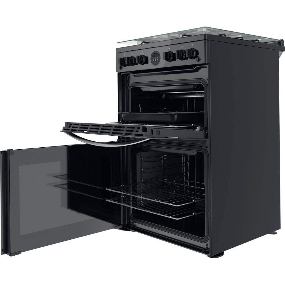Indesit Double Cooker ID67G0MCB/UK Black A+ Perspective open