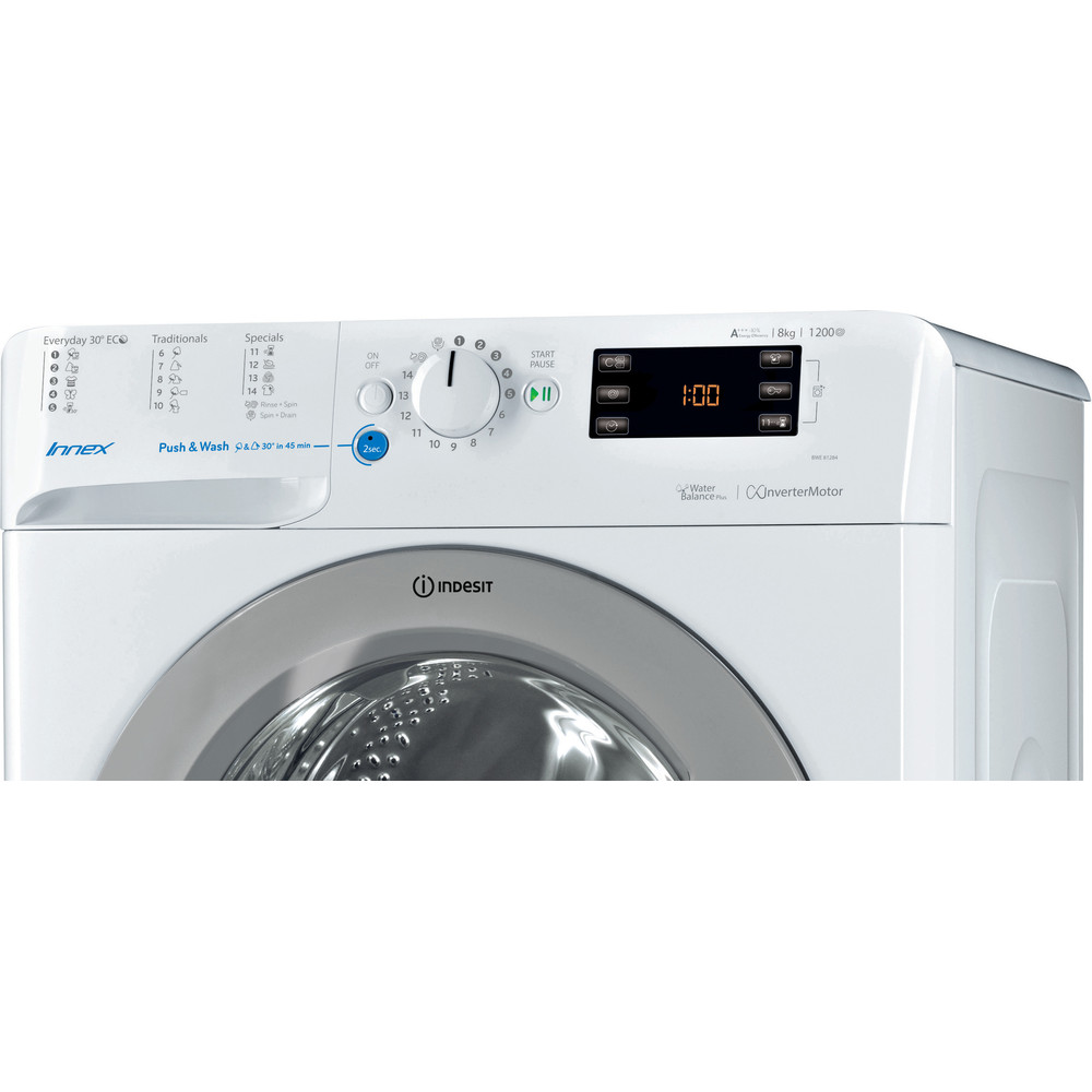 Indesit Pračka Volně stojící BWE 81284X WSSS EU Bílá Front loader A+++ Control panel