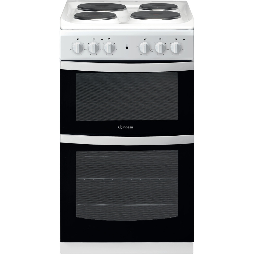 Indesit Double Cooker ID5E92KMW/UK White A Enamelled Sheetmetal Frontal