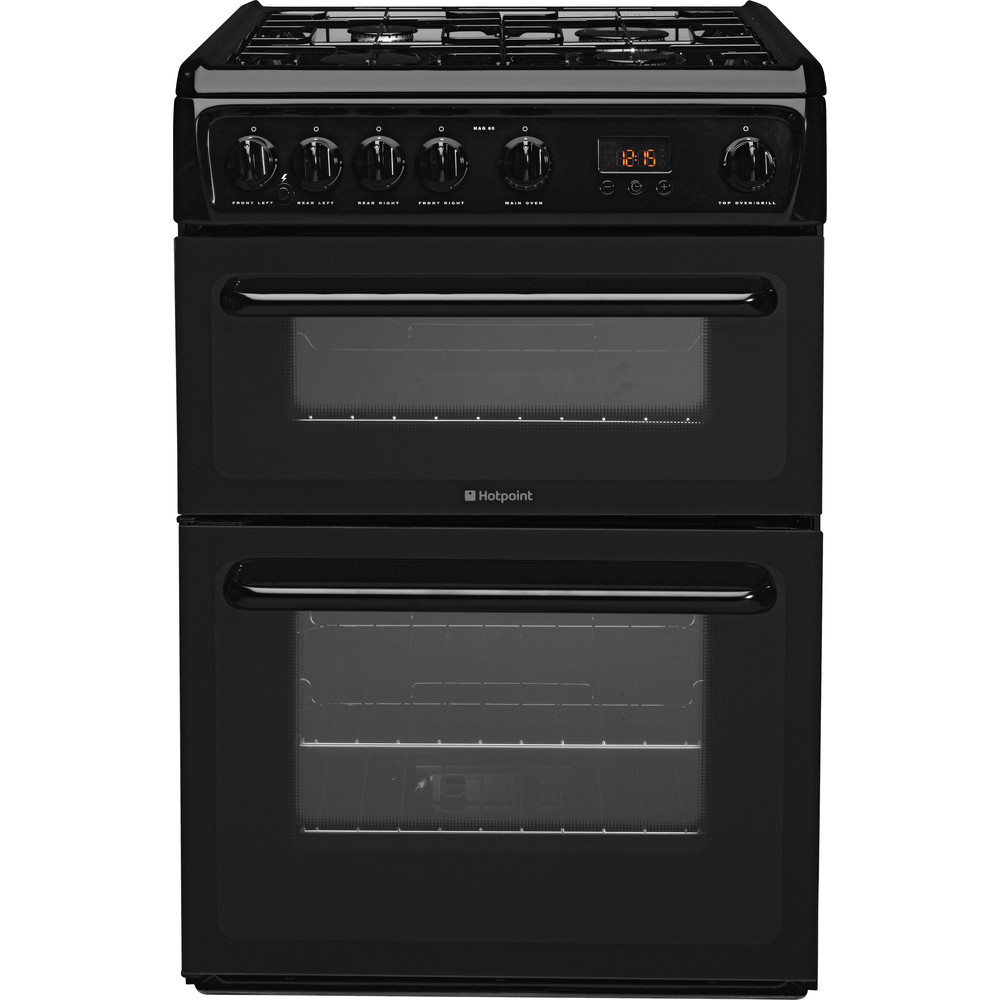 Hotpoint Double Cooker HAG60K Black A+ Enamelled Sheetmetal Frontal