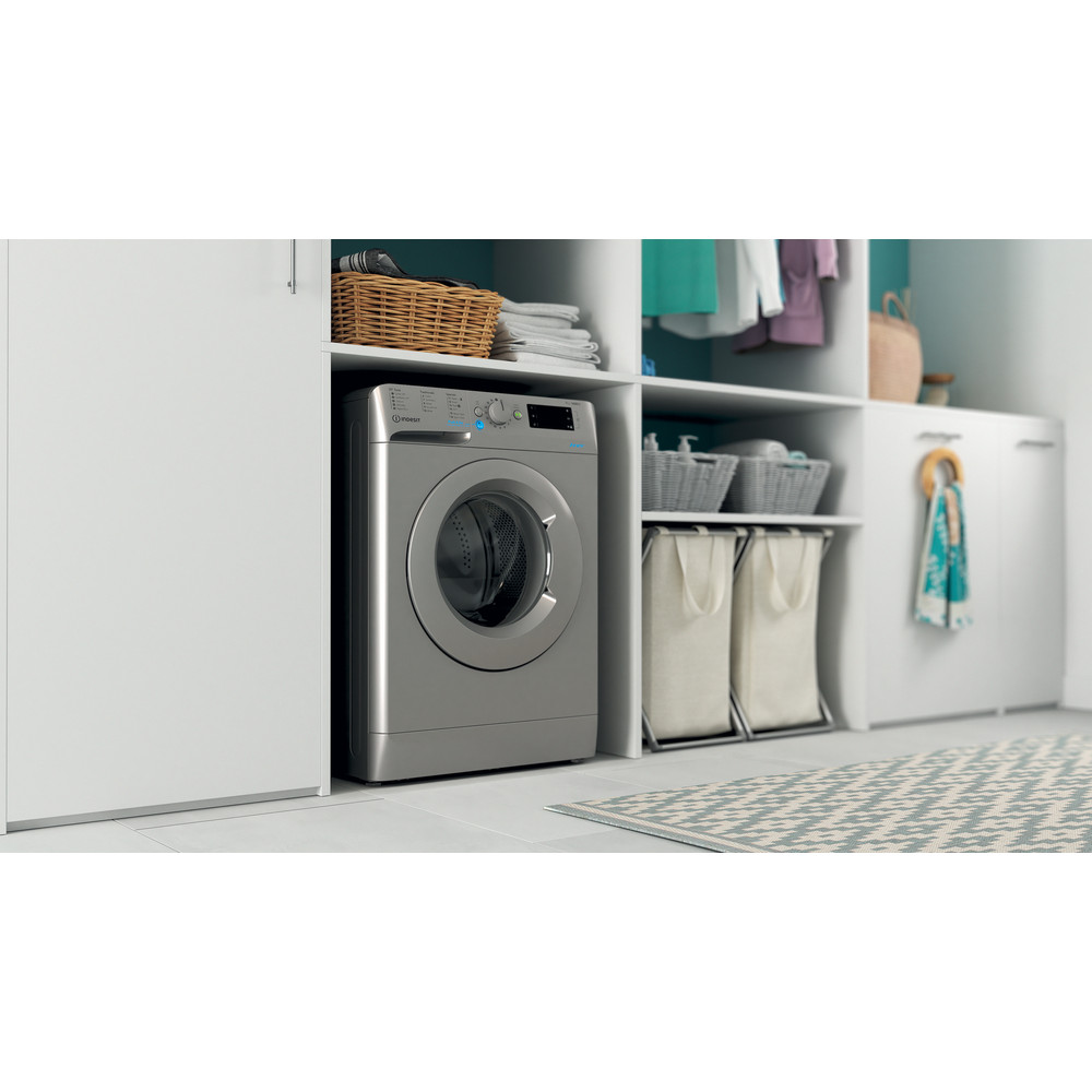 Indesit Washing machine Free-standing BWE 71452 S UK N Silver Front loader E Lifestyle perspective