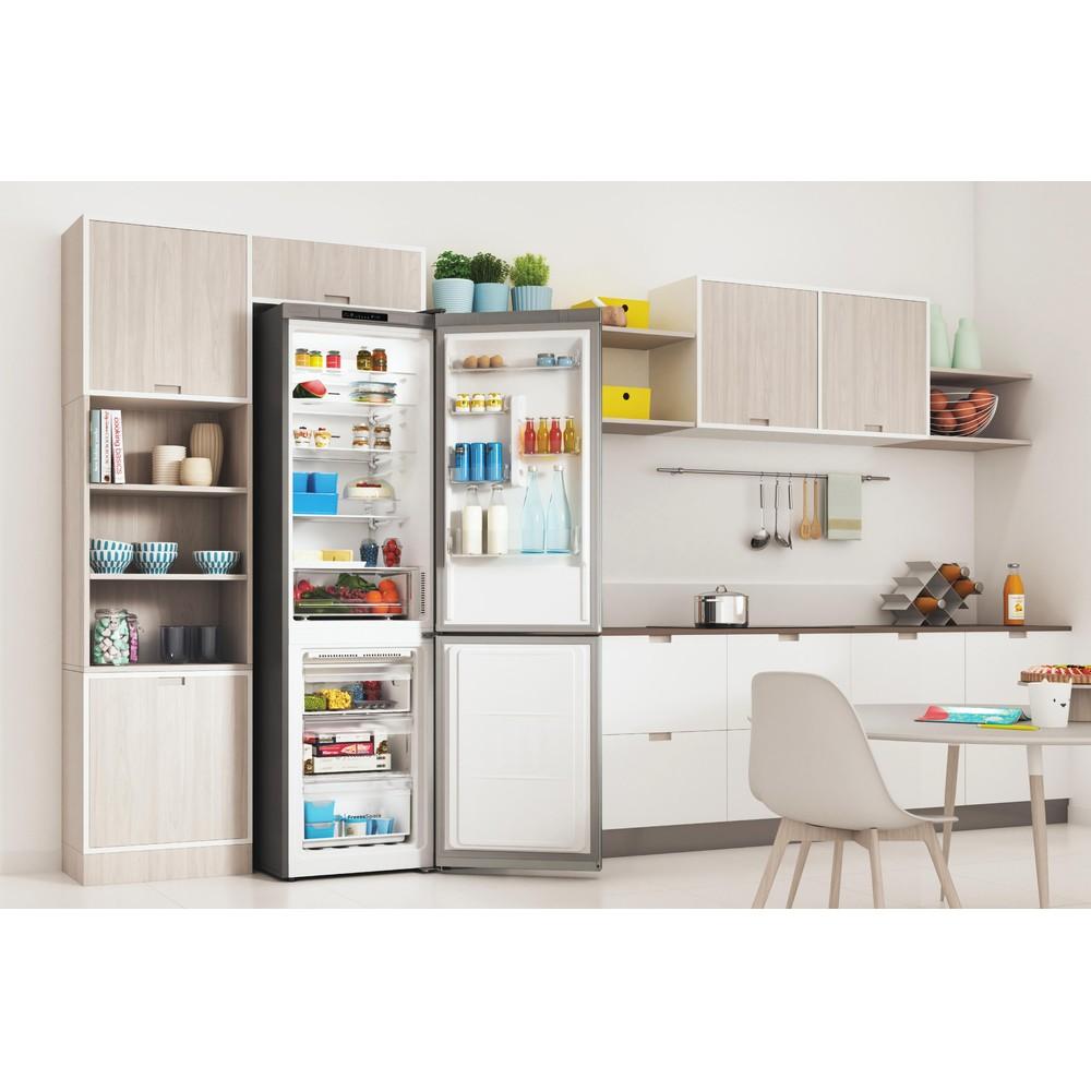 Indesit Combiné réfrigérateur congélateur Pose-libre INFC9 TI21X Inox 2 portes Lifestyle perspective open