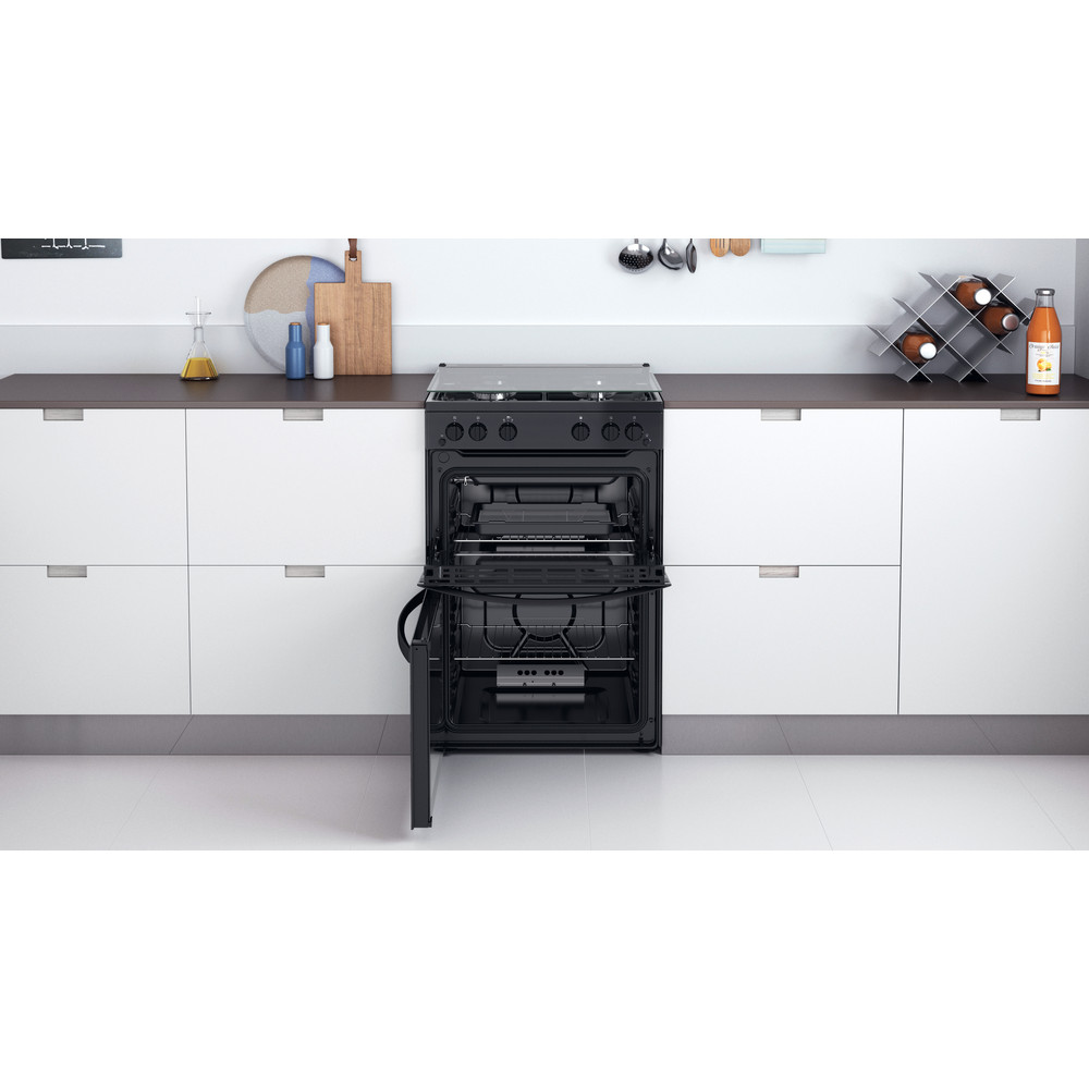 Indesit Double Cooker ID67G0MMB/UK Black A+ Lifestyle frontal open