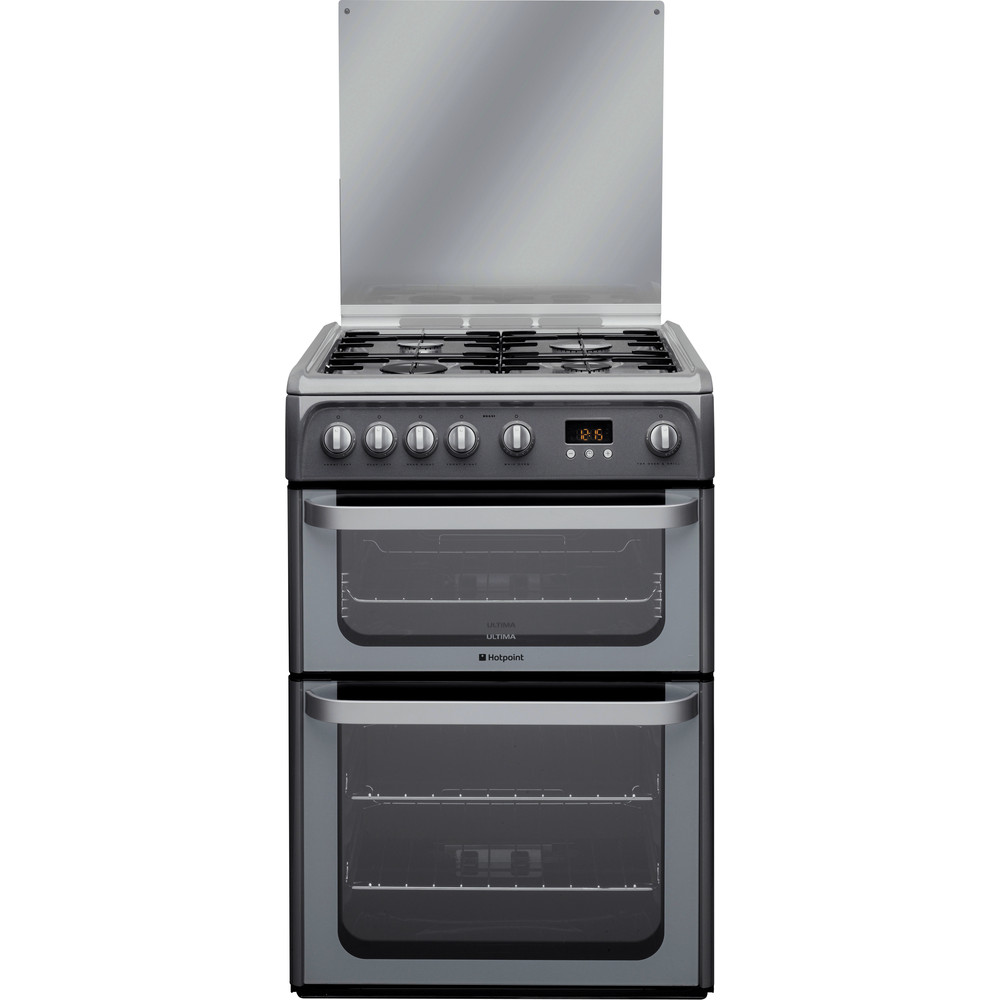 Hotpoint Double Cooker HUG61G Graphite A+ Enamelled Sheetmetal Frontal