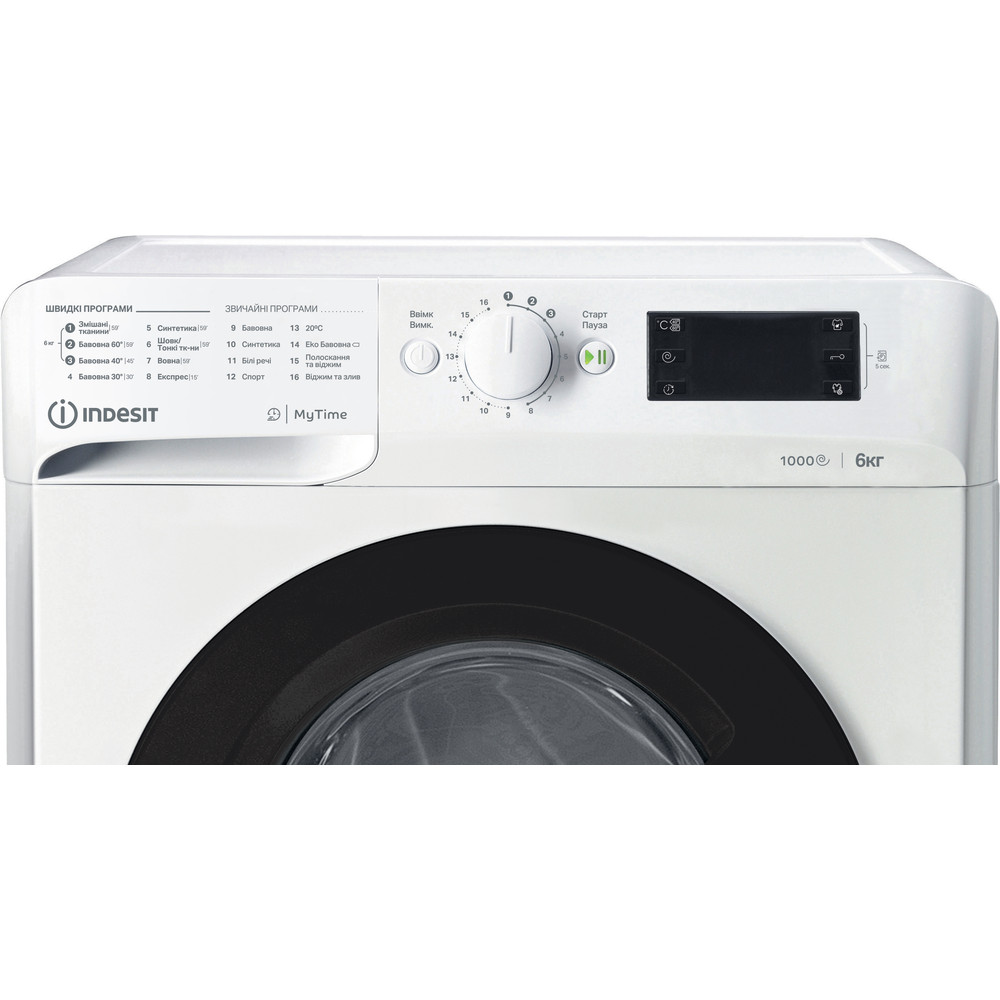 Indesit Пральна машина Соло OMTWSE 61051 WK UA Білий Front loader A+++ Control panel