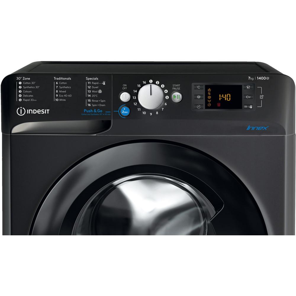 Indesit Washing machine Free-standing BWE 71452 K UK N Black Front loader A+++ Control panel
