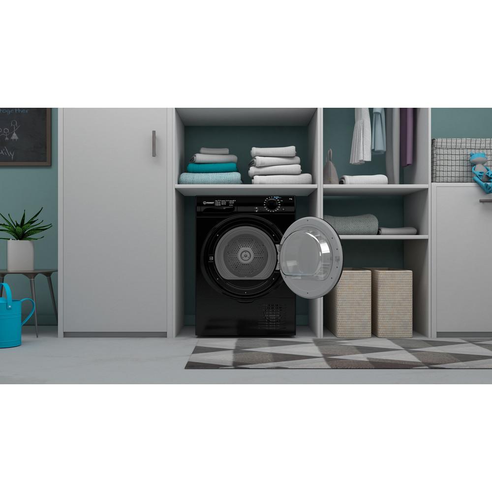 Indesit Dryer I2 D81B UK Black Lifestyle frontal open
