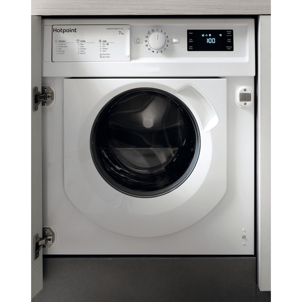 Hotpoint Washing machine Built-in BI WMHG 71483 UK N White Front loader A+++ Frontal