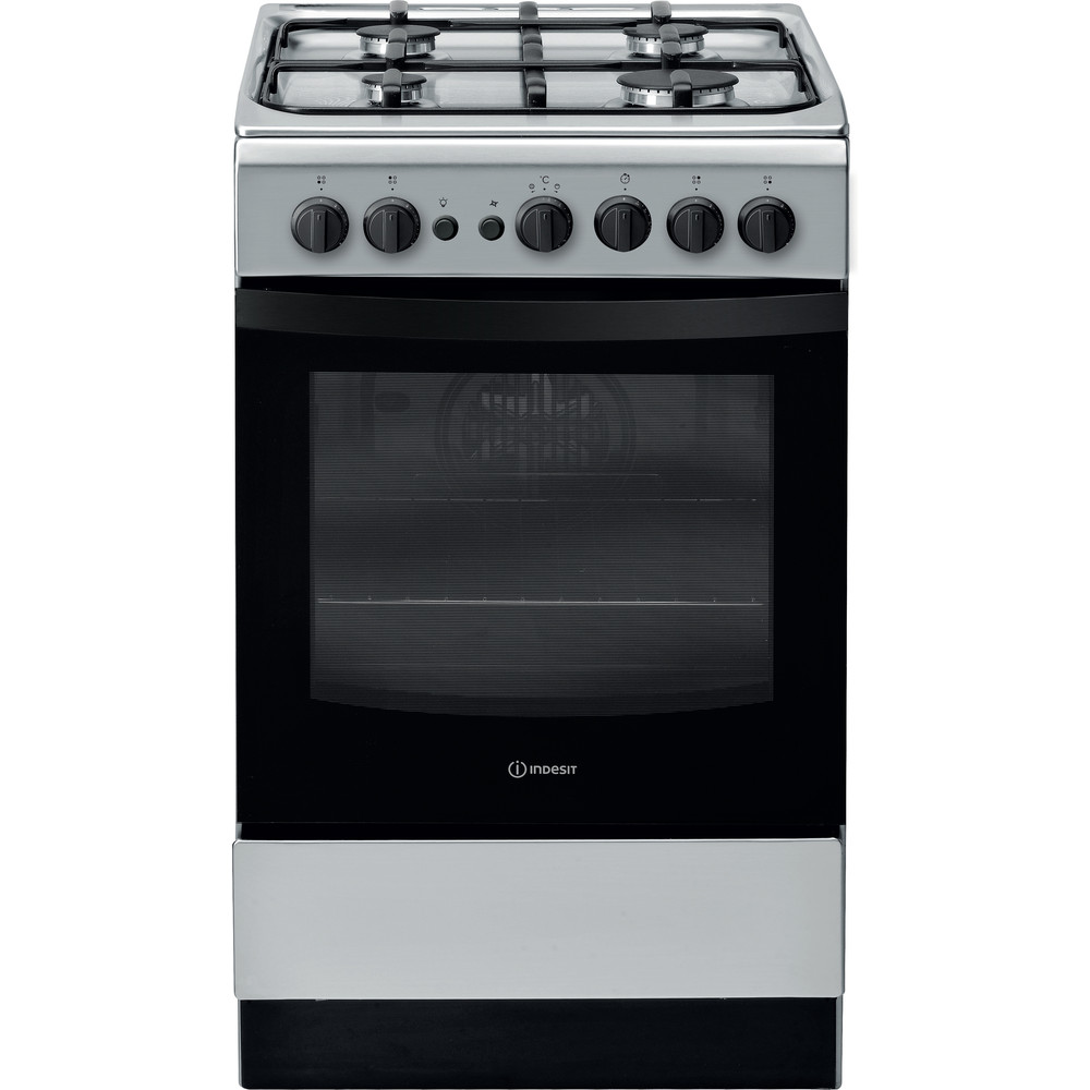 Indesit Cooker IS5G1PMSS/UK Silver painted GAS Frontal