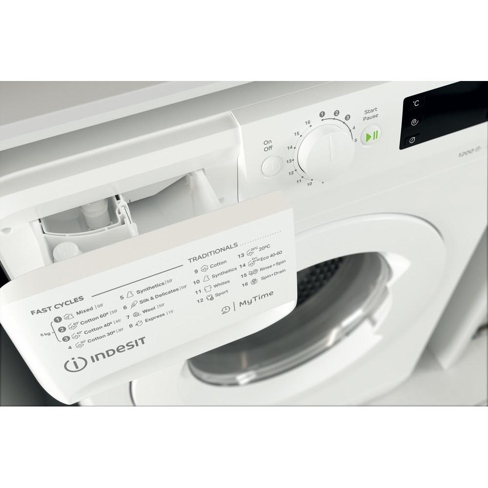 Indsit Maşină de spălat rufe Independent MTWSE 61252 W EE Alb Încărcare frontală A +++ Drawer
