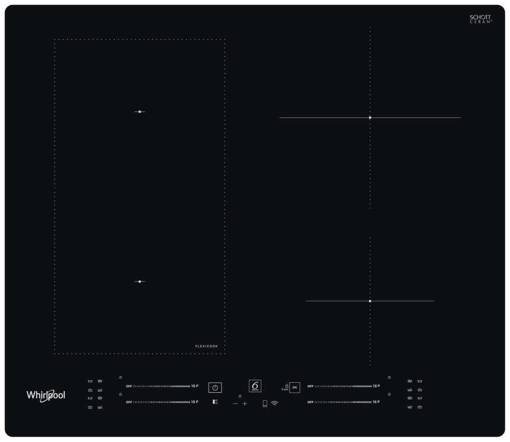 Whirlpool Kogeplade WL S2260 NE Sort Induction vitroceramic Frontal