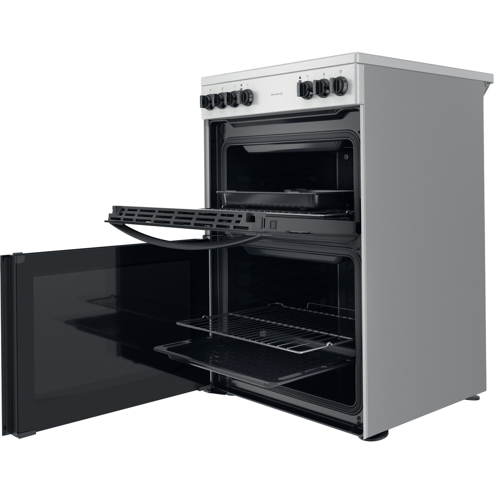 Indesit Double Cooker ID67V9HCCX/UK Inox A Perspective open