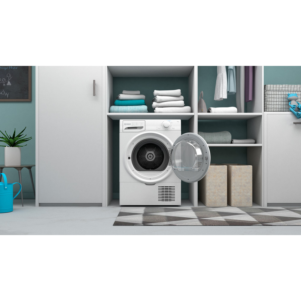 Indesit Droger I2 D71W EE Wit Lifestyle frontal open