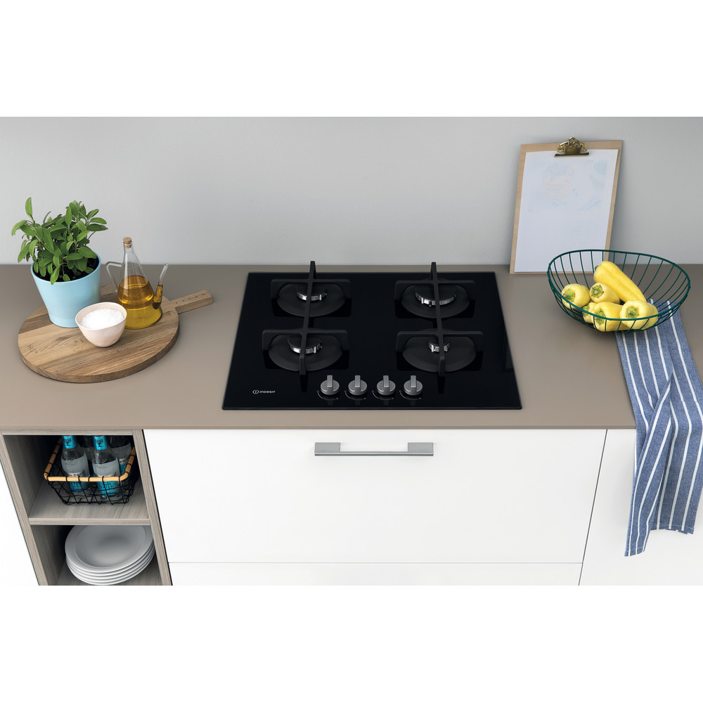 Indesit Piano cottura ING 61T/BK Nero GAS Lifestyle frontal top down