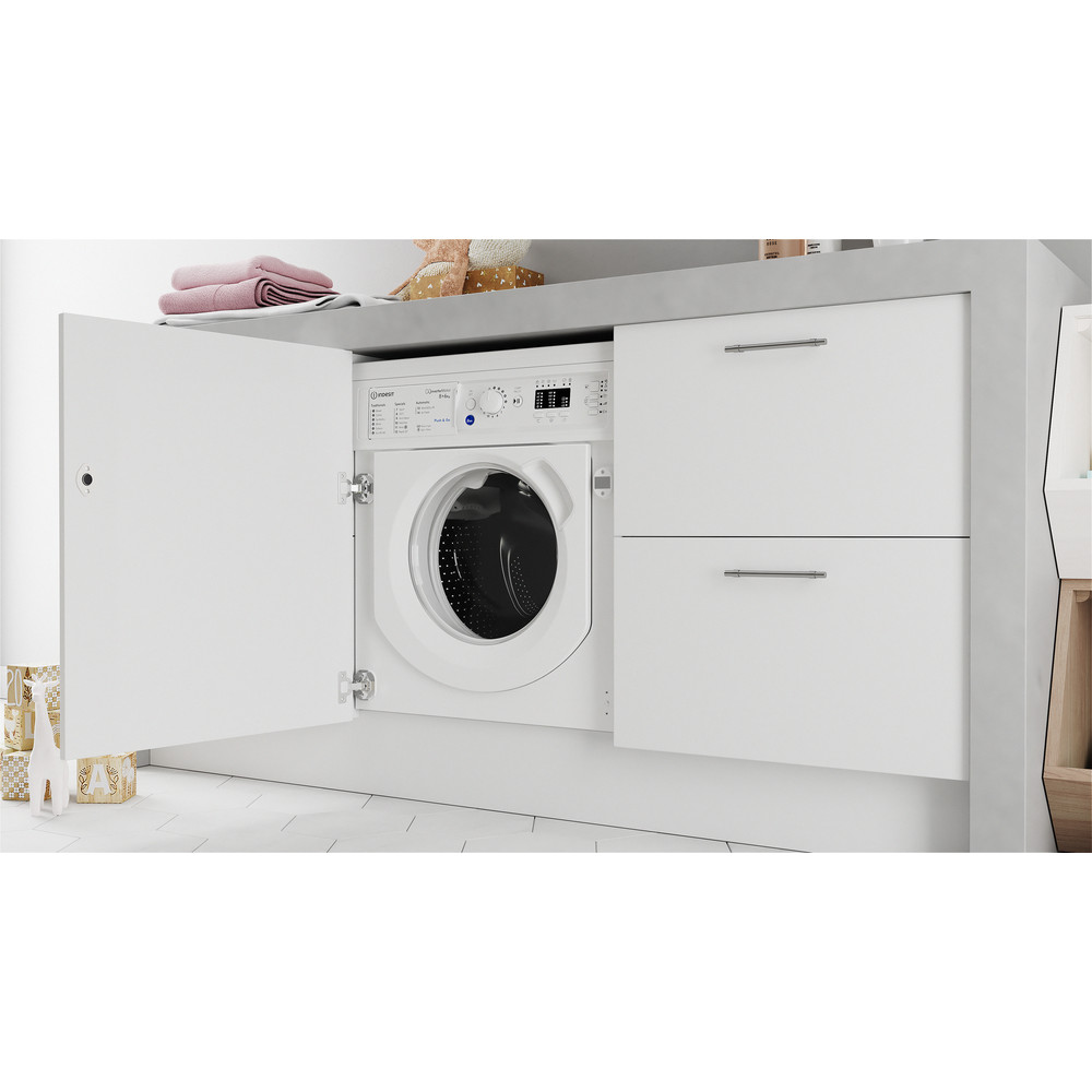 Indesit Washer dryer Built-in BI WDIL 861284 UK White Front loader Lifestyle perspective