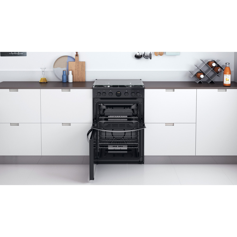 Indesit Double Cooker ID67G0MCB/UK Black A+ Lifestyle frontal open