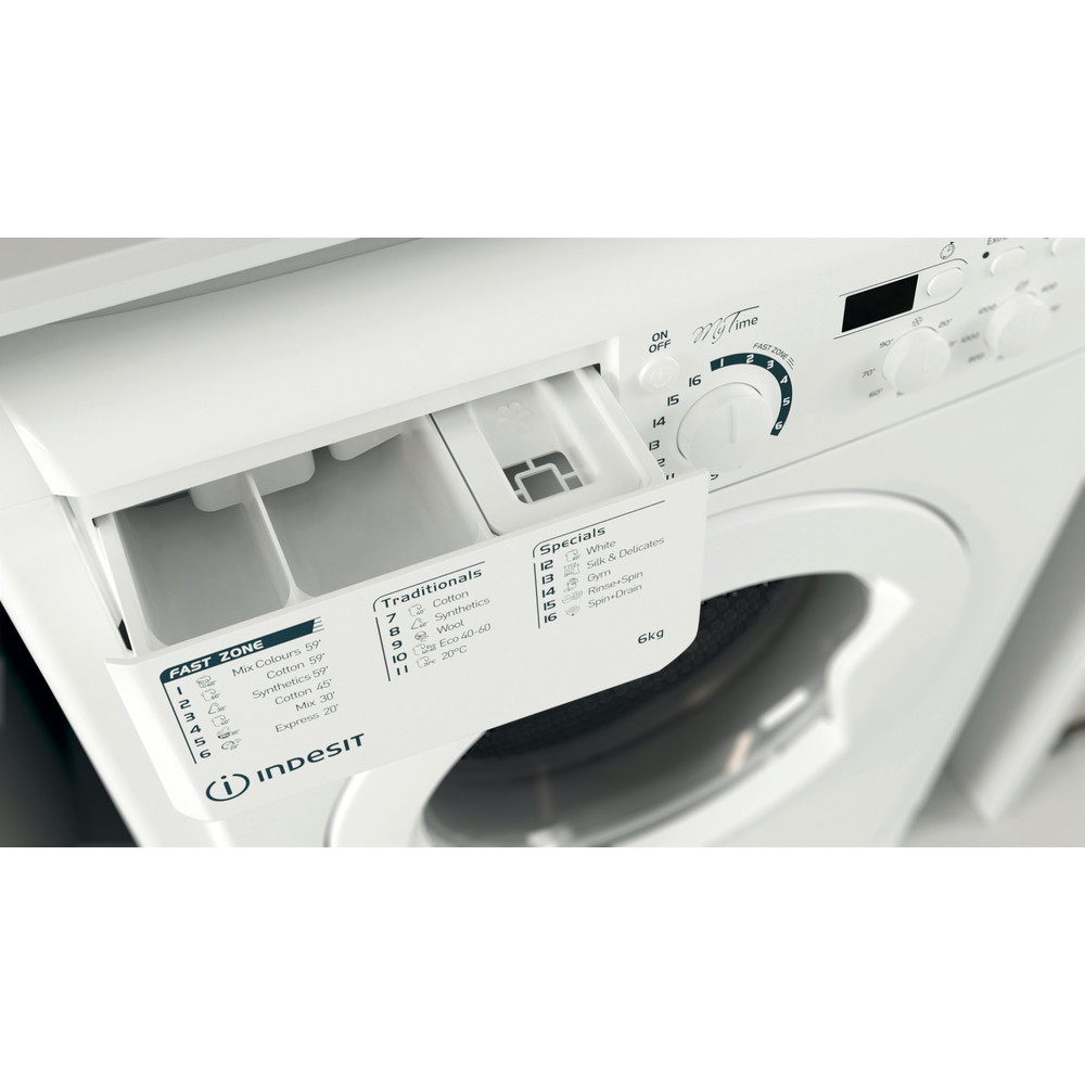 Indesit Washing machine Free-standing EWSD 61251 W UK N White Front loader F Drawer
