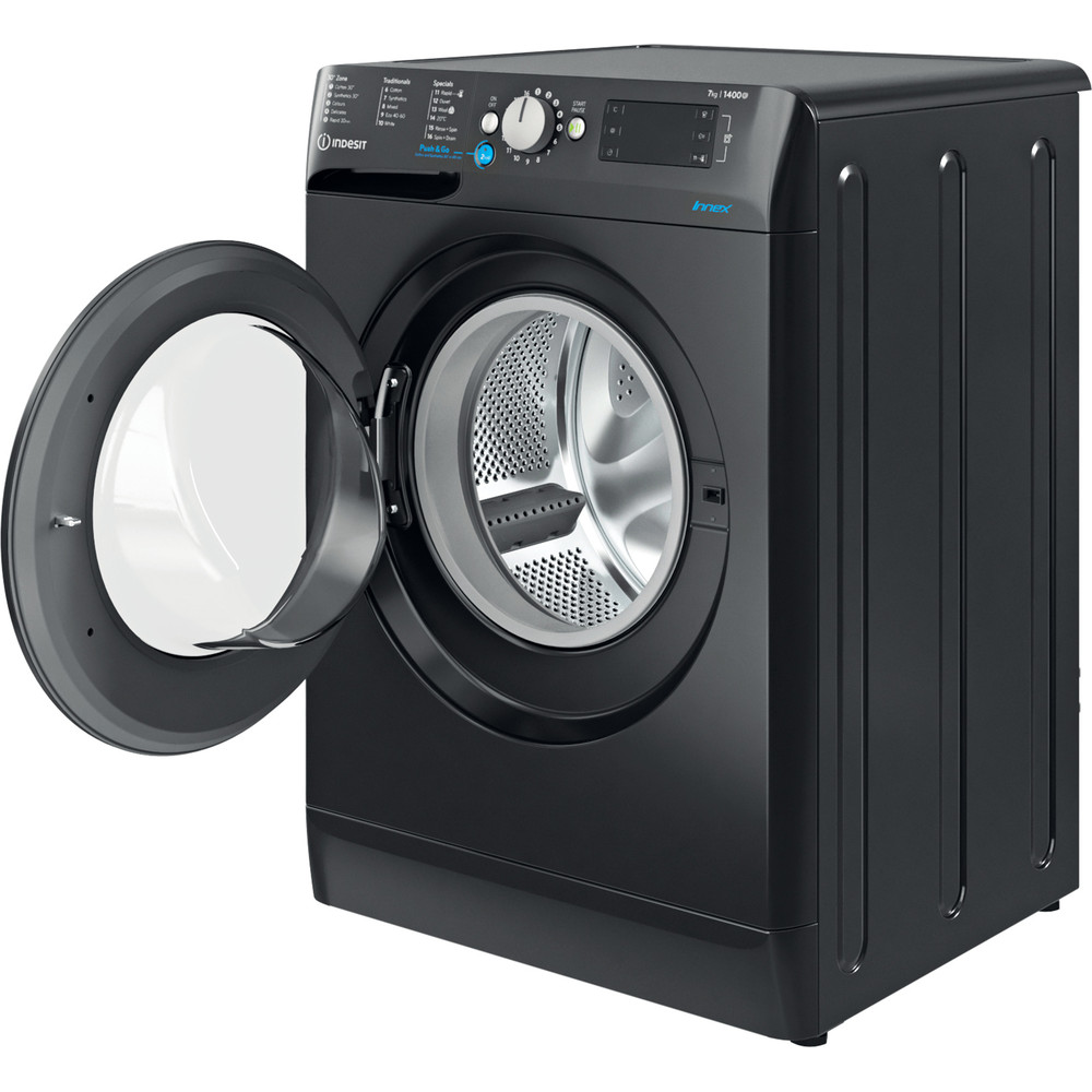 Indesit Washing machine Free-standing BWE 71452 K UK N Black Front loader E Perspective open
