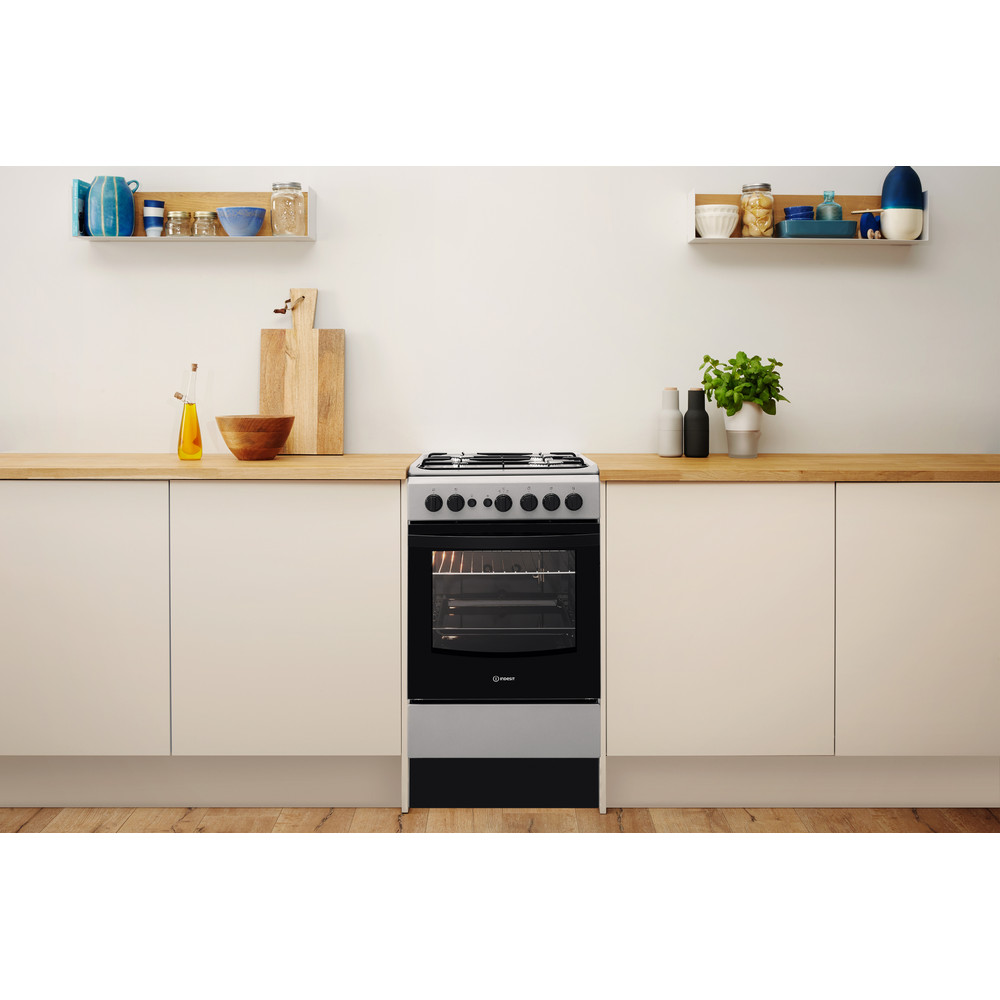 Indesit Cooker IS5G1PMSS/UK Silver painted GAS Lifestyle frontal