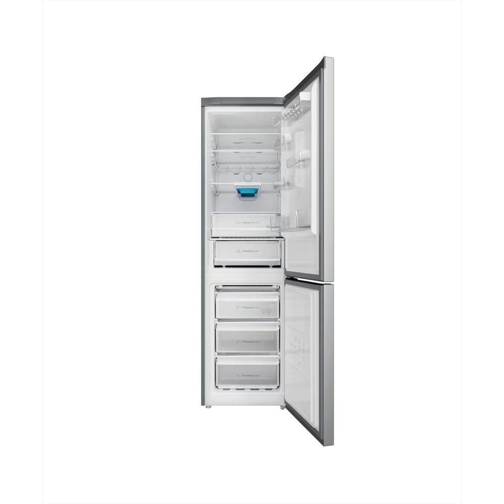 Indesit Combiné réfrigérateur congélateur Pose-libre INFC9 TO32X Inox 2 portes Frontal open