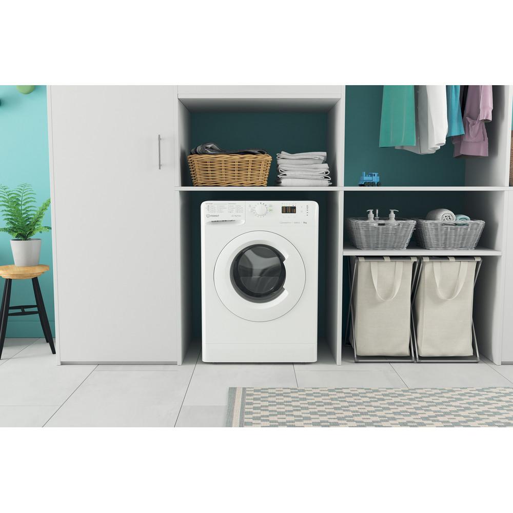 Indsit Maşină de spălat rufe Independent MTWA 91283 W EE Alb Încărcare frontală D Lifestyle frontal