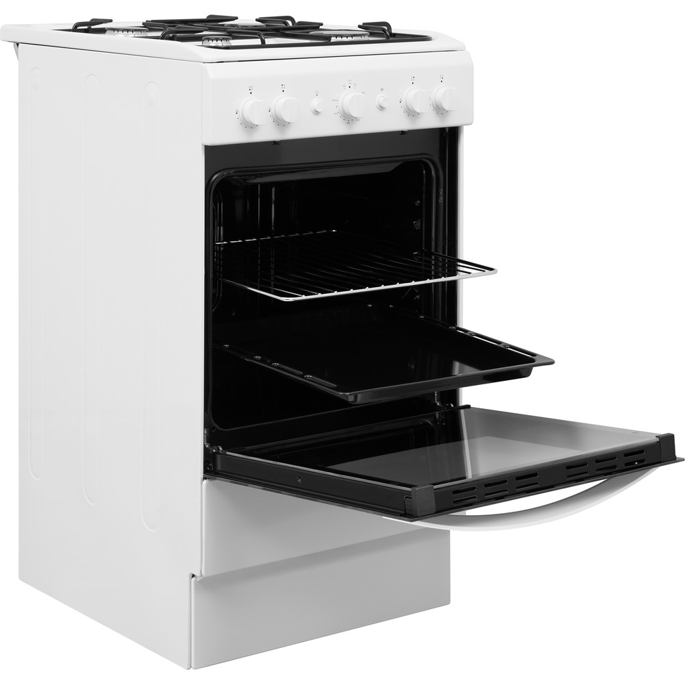 Indesit Cooker IS5G1KMW/U White GAS Perspective open