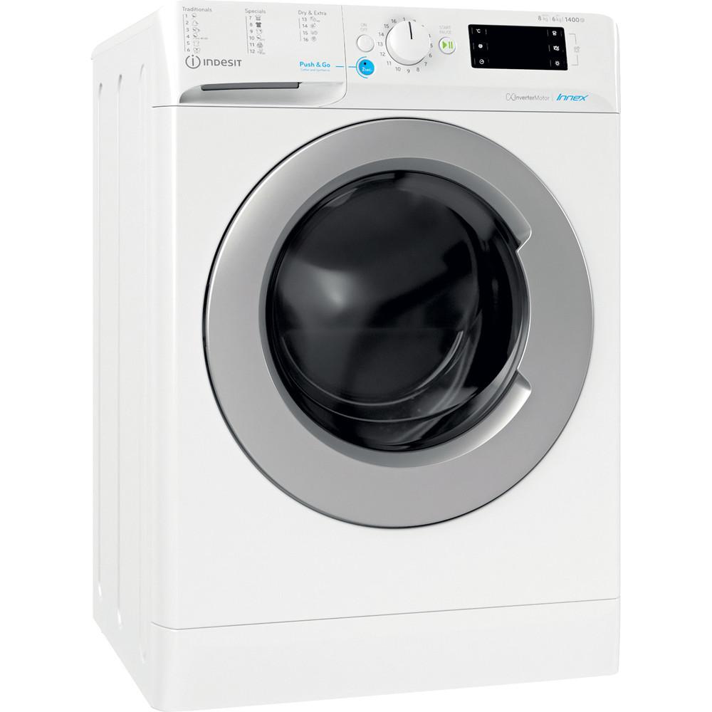 Indesit Tvättmaskin med torktumlare Fristående BDE 861483X WS EU N White Front loader Perspective