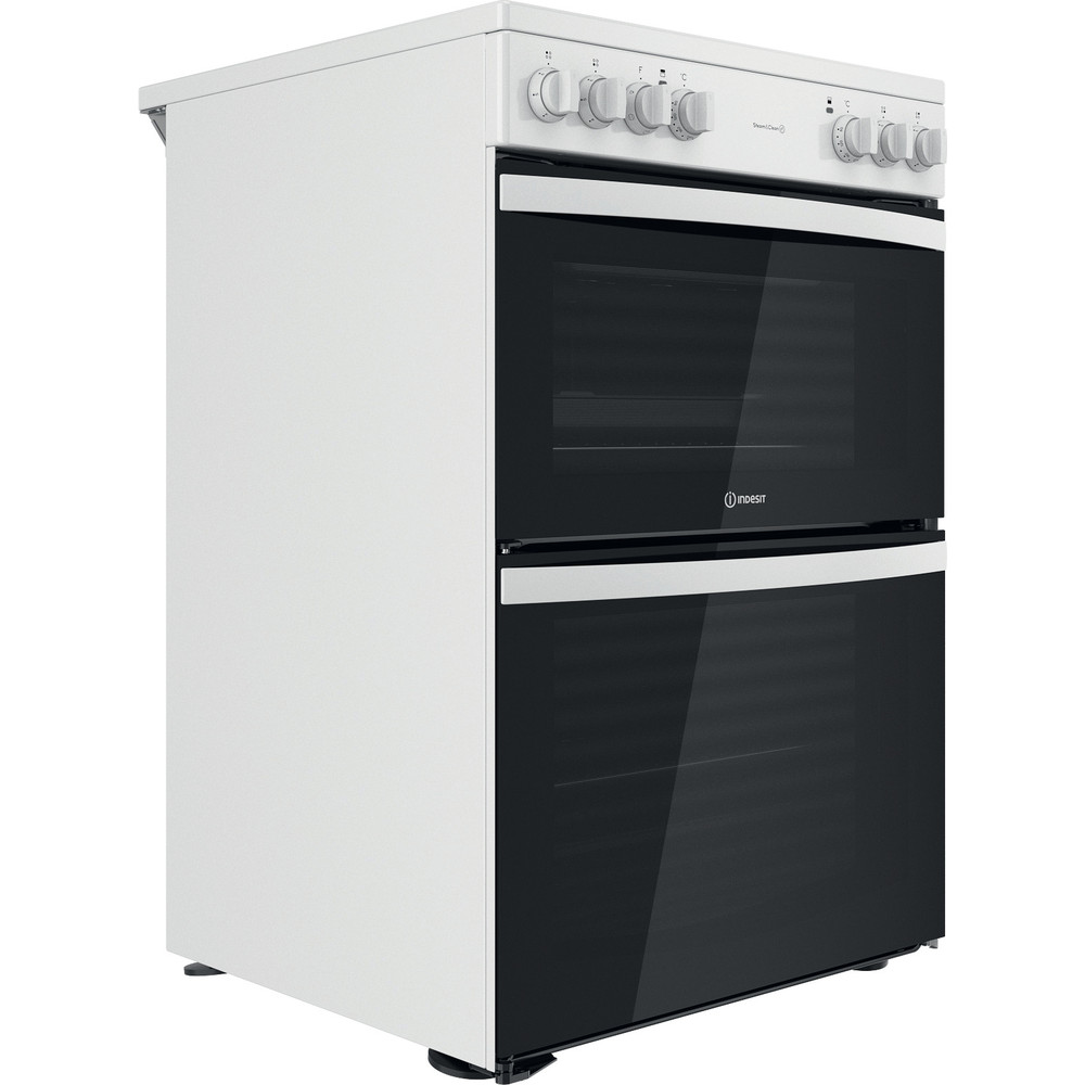 Indesit Double Cooker ID67V9KMW/UK White B Perspective
