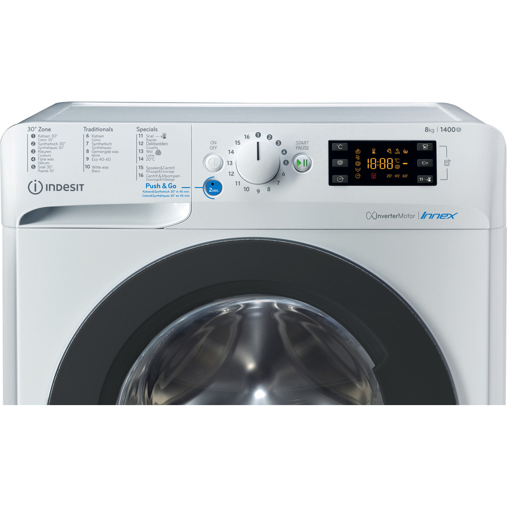Indesit Lave-linge Pose-libre BWEBE 81484X WK N Blanc Frontal A+++ Control panel
