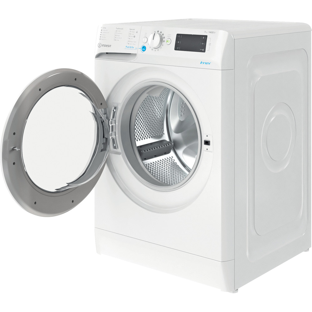 Indesit Washing machine Free-standing BWE 91683X W UK N White Front loader D Perspective open