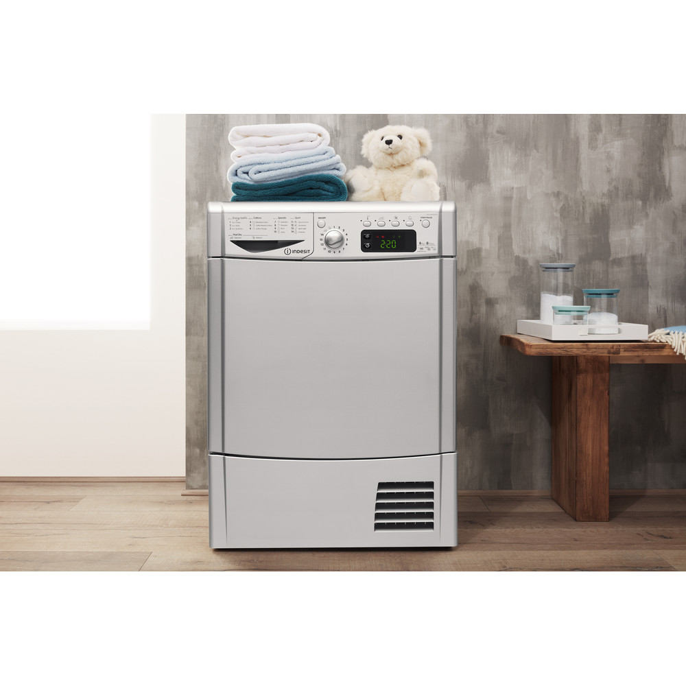 Indesit Dryer IDCE 8450 BS H (UK) Silver Lifestyle frontal