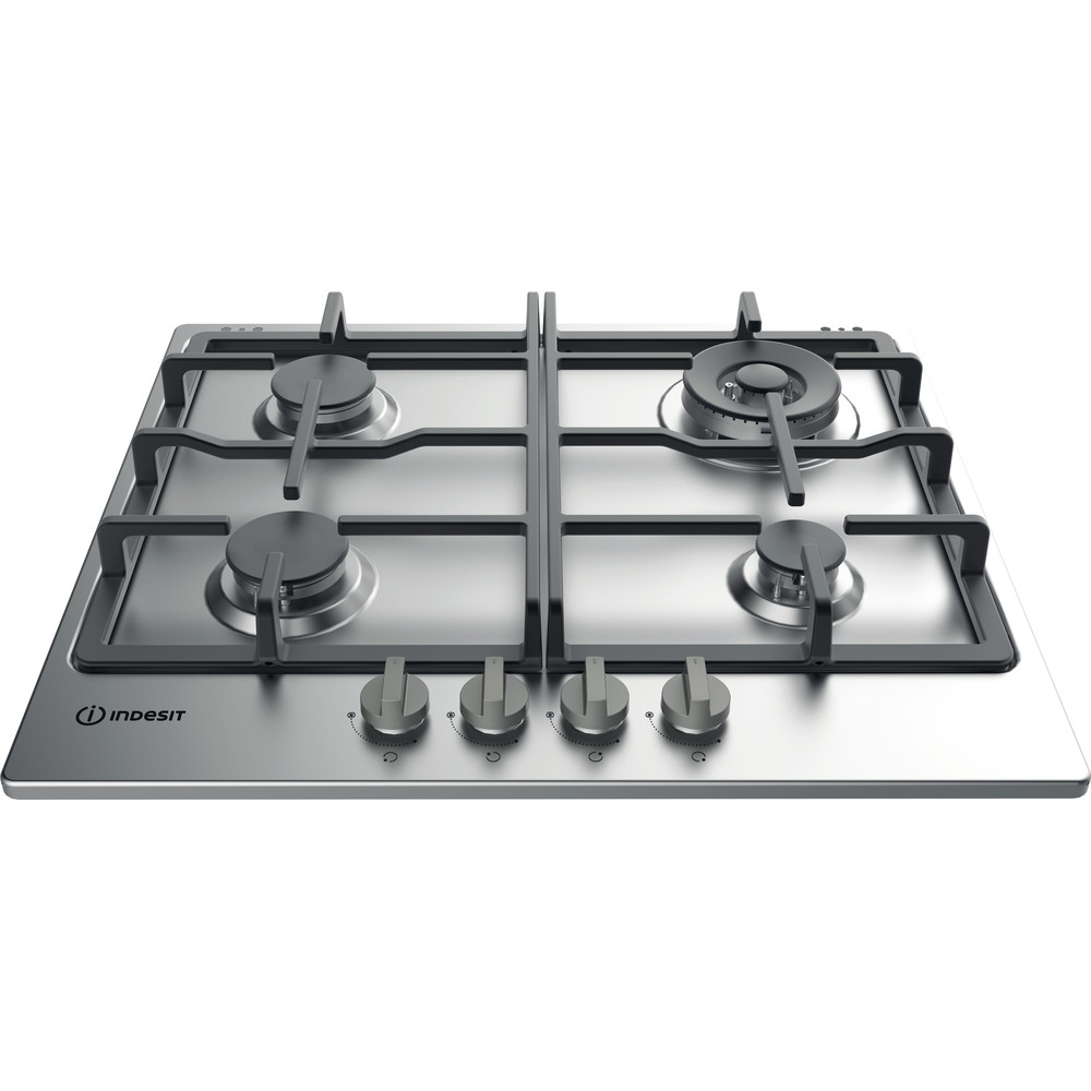 Indesit HOB THP 641 W/IX/I Inox GAS Frontal top down