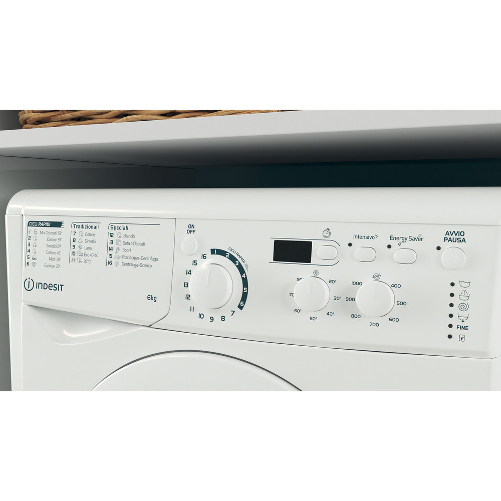 Indesit Lavabiancheria A libera installazione EWD 61051 W IT N Bianco Carica frontale F Lifestyle control panel