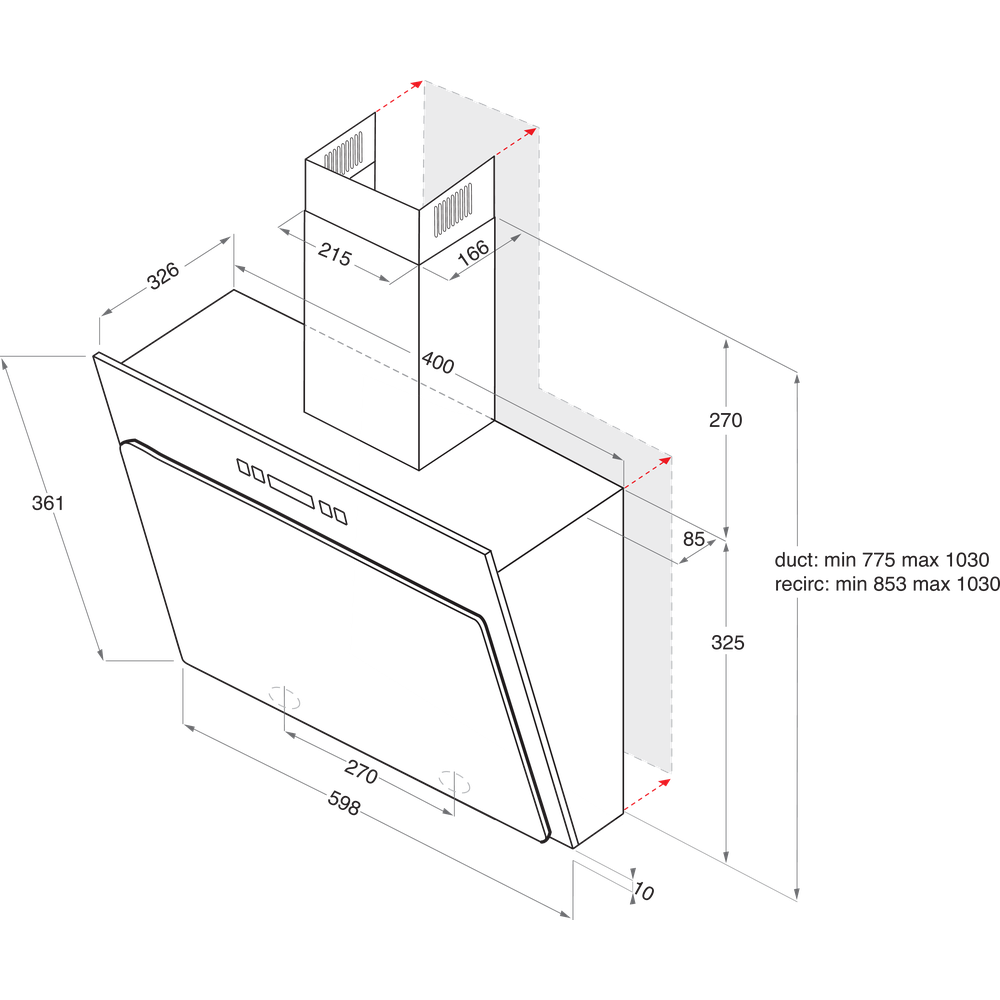 Indesit HOOD Built-in IHVP 6.4 AL K Black Wall-mounted Mechanical Technical drawing