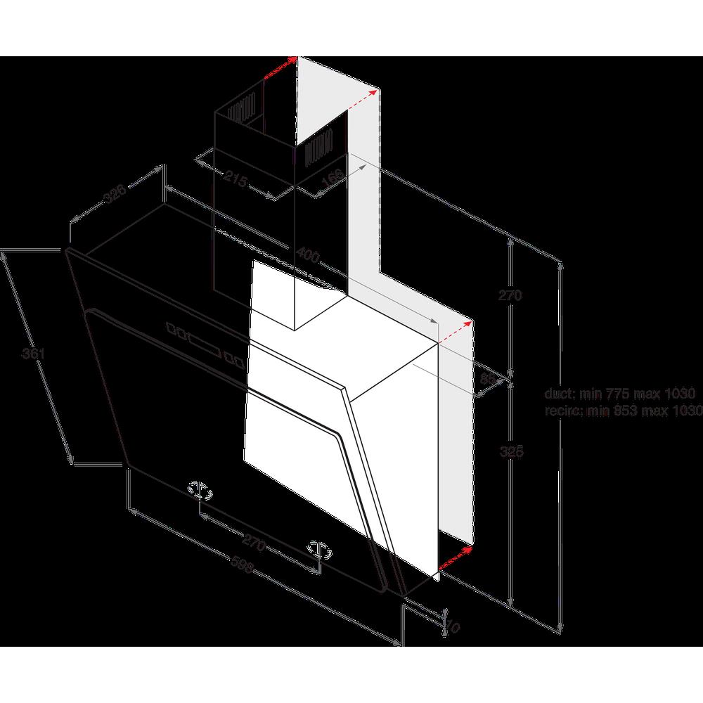 Indesit Вытяжной шкаф Встраиваемый IHVP 6.4 LL K Черный Wall-mounted Электронное Technical drawing