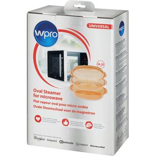 Plat vapeur Whirlpool spécialement conçu pour cuire les aliments à la vapeur avec la fonction vapeur dans les fours à micro-ondes.  Préparer des plats sains à la vapeur ou cuire du riz ou les pâtes à la perfection. 24 x 20 cm