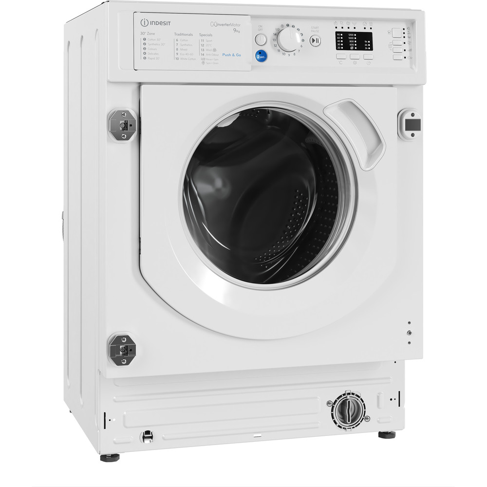 Indesit Washing machine Built-in BI WMIL 91484 UK White Front loader C Perspective